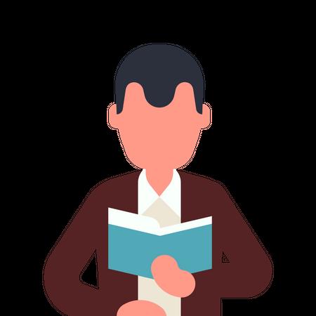 Book lover reading book Illustration