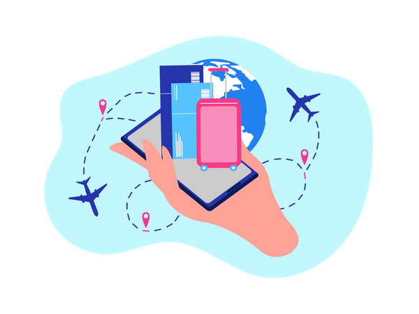 Booking Flight Tickets, Ordering Airline Company Online Services with Mobile Application Illustration