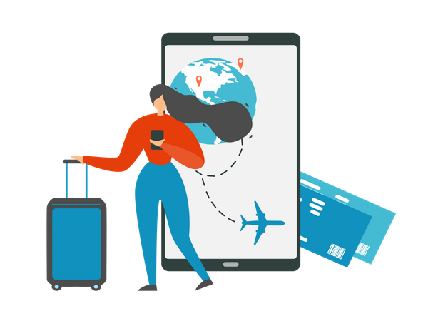 Booking Flight Tickets with Cellphone Illustration