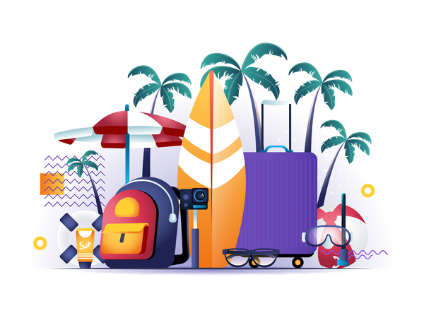 Booking of airline tickets and hotel rooms Illustration
