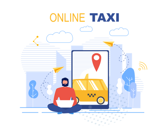Booking Online Taxi Service Application Illustration