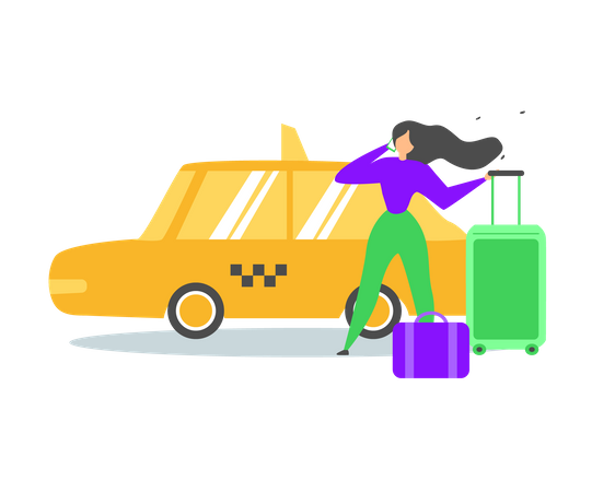 Booking Taxi Car with Mobile Phone Illustration