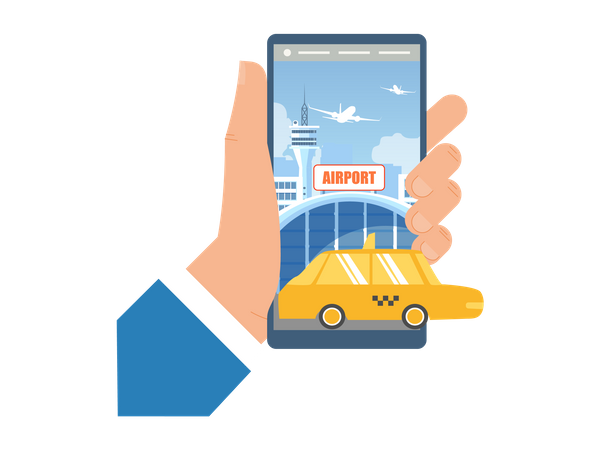 Booking Taxi for Airport Transfer with Mobile Phone Illustration