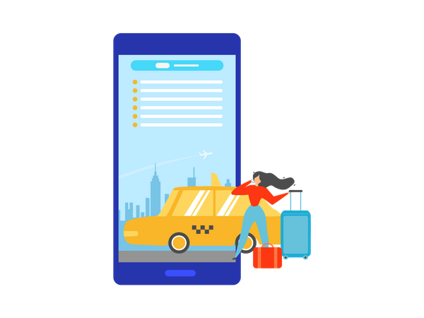 Booking Taxi Online with Mobile Application Illustration