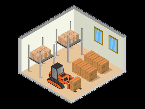 Boom lift arranging product stock Illustration