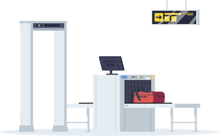 Border control semi flat RGB color vector illustration. Security check equipment for airport terminal. Baggage check. Luggage conveyor belt isolated cartoon object on white background Illustration