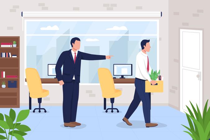 Boss firing employee from office job Illustration