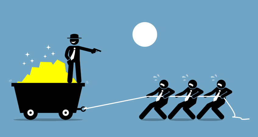 Boss forcing employees and workers to work hard by threatening them with a gun Illustration