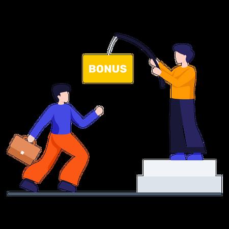 Boss giving bonus to his employee Illustration