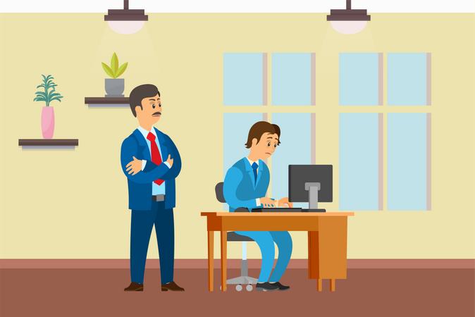 Boss Supervising Novice Working on Office Computer Illustration