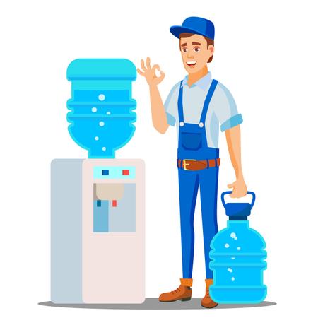 Bottled Water Shipment Worker Illustration