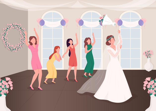 Bouquet throwing tradition Illustration