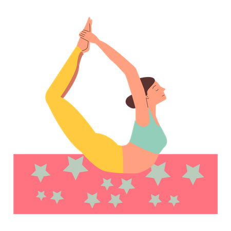 Bow yoga pose - flexible woman stretching on the floor with eyes closed Illustration