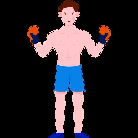 Boxer wearing boxing gloves Illustration