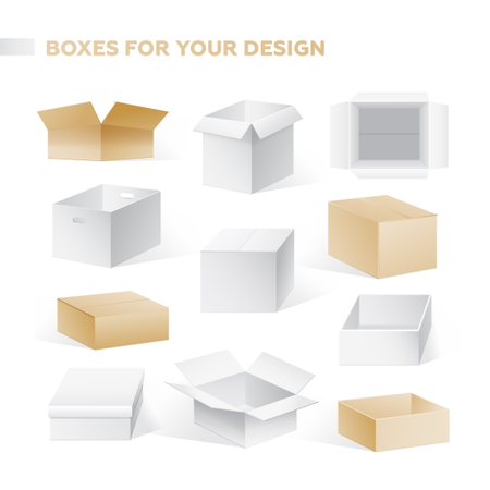 Boxes - Realistic Vector Set Of Cardboard Containers Clip Art Illustration