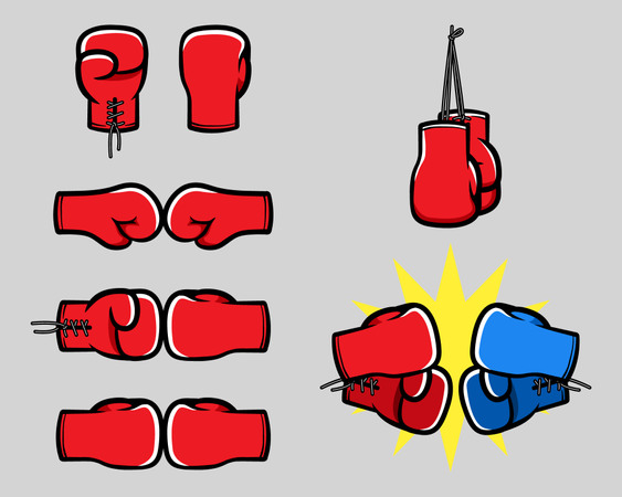 Boxing Glove Cartoon Hand Collection Illustration