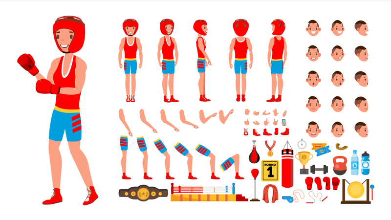 Boxing Player Vector. Animated Character Creation Set. Fighting Sportsman Male. Full Length, Front, Side, Back View, Accessories, Poses, Face Emotions, Gestures. Isolated Flat Cartoon Illustration Illustration