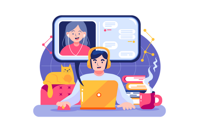 Boy and a girl having online meeting by their laptop Illustration