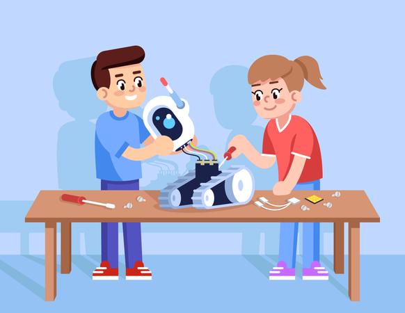 Boy and girl assemble robot Illustration