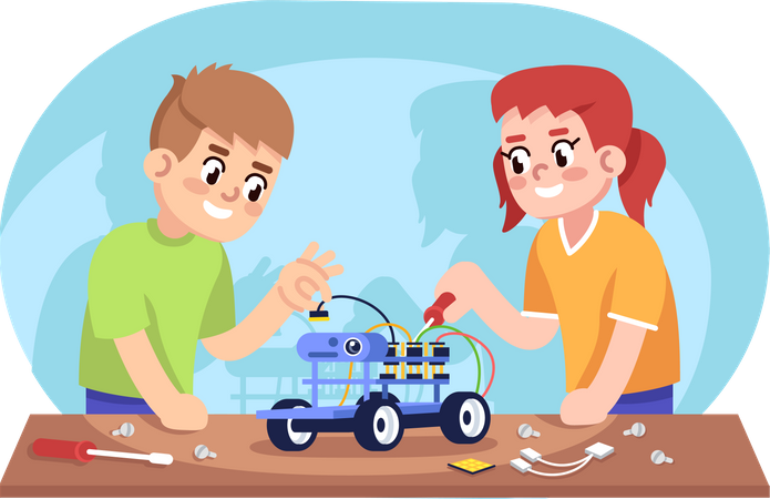 Boy and girl assembling robot car Illustration