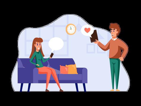 Boy and girl chatting on social media Illustration
