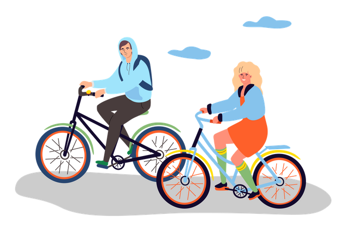 Boy and girl cycling Illustration