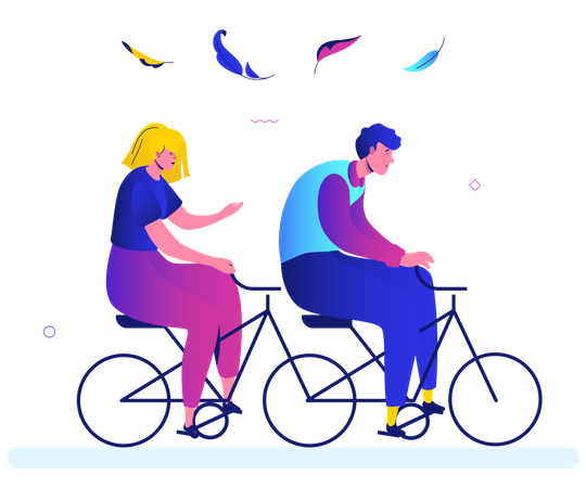 Boy and girl cycling in the park Illustration