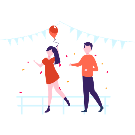 Boy and girl dancing at new year party Illustration