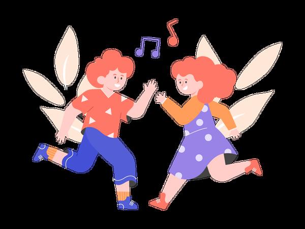 Boy and girl dancing together Illustration