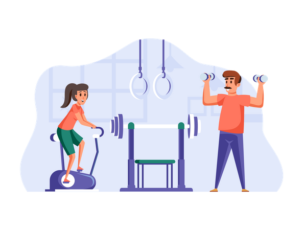 Boy and Girl doing Morning workout Illustration