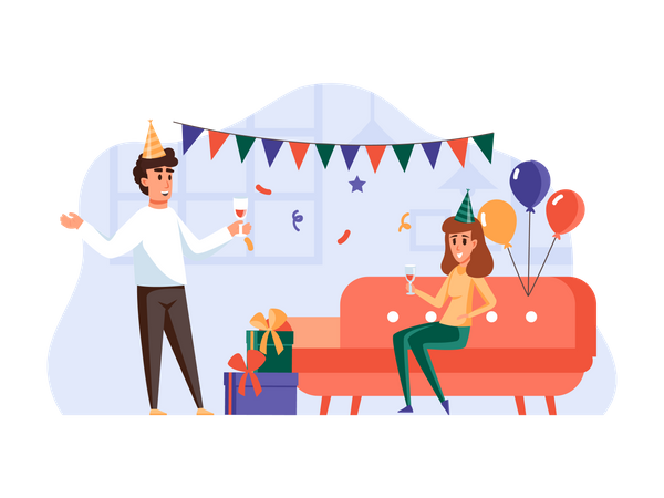 Boy and girl doing party Illustration