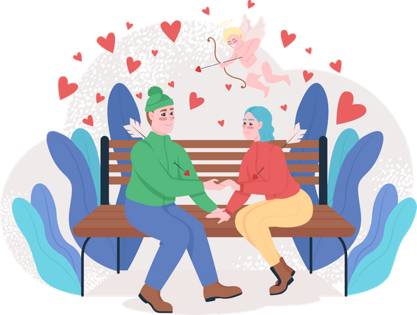 Boy and girl sitting in park Illustration