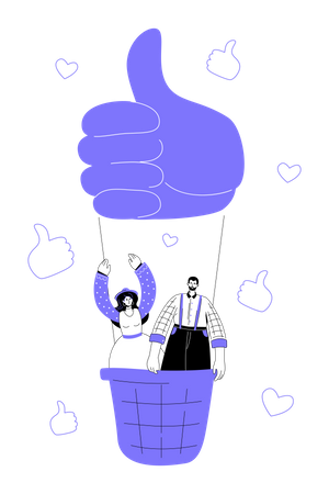 Boy and girl flying up on a hot air balloon, thumbs up and likes, hearts Illustration