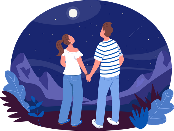 Boy and girl hold hands and watching stars Illustration