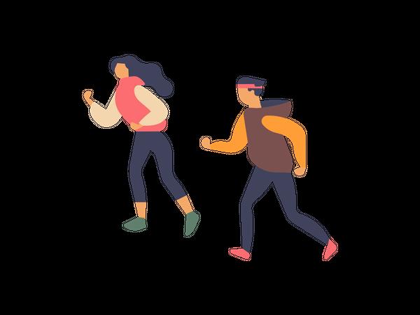 Boy and girl jogging Illustration