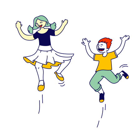 Boy and girl jumping in air Illustration