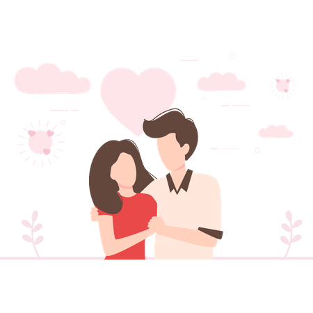 Boy and girl looking each other Illustration