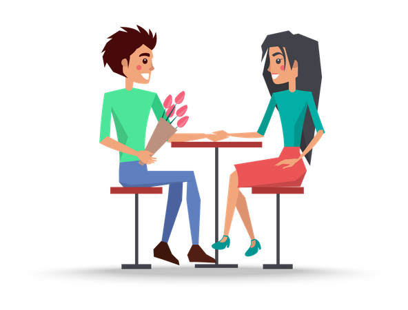 Boy and girl on date Illustration