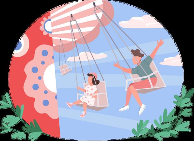 Boy and girl on swing Illustration