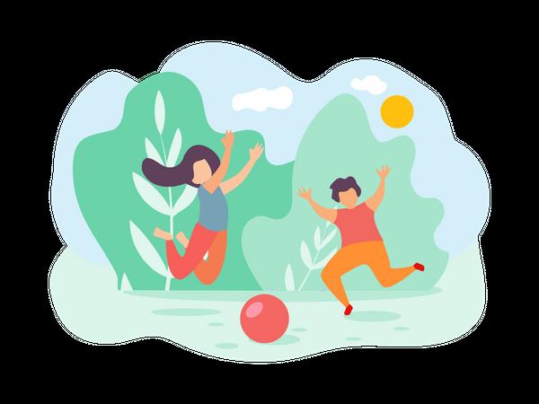 Boy and Girl Playing Ball at Park Illustration