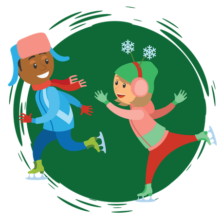 Boy and girl playing in snow Illustration