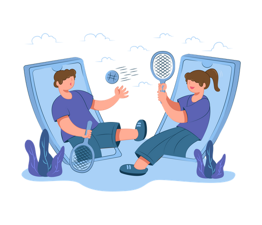 Boy and girl playing online tennis Illustration