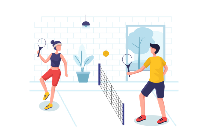 Boy and girl playing tennis Illustration