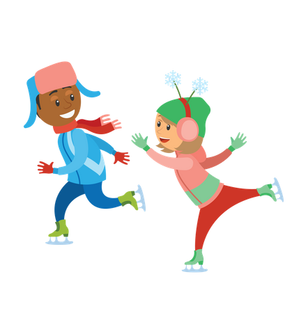 Boy and girl playing with snow Illustration