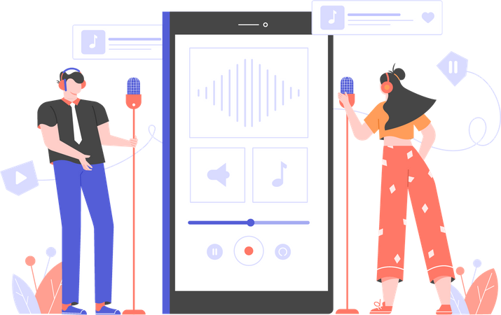 Boy and girl recording podcast using smartphone application Illustration