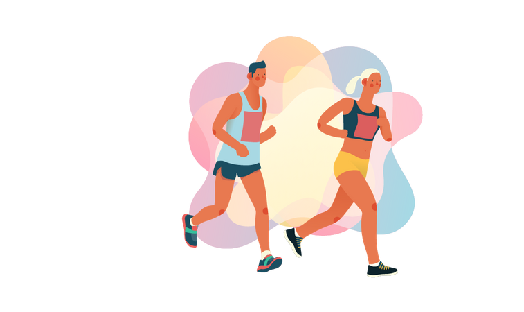 Boy and girl running in race Illustration
