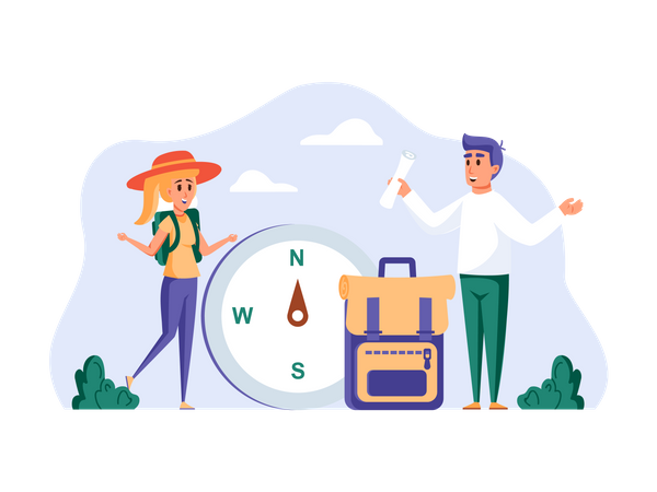 Boy and Girl selecting travel location Illustration