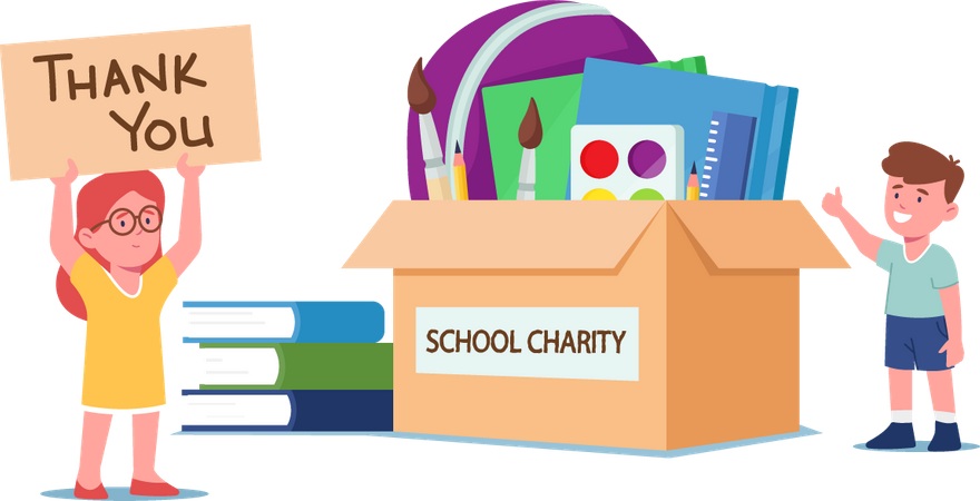 Boy and Girl Stand at Donation Box with School Stuff Illustration
