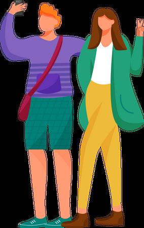 Boy and girl taking selfie Illustration