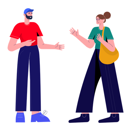 Boy and girl talking with each other Illustration